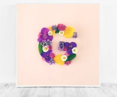 Letter G Print Flower Initial Nursery Artwork Pink by CristylClear