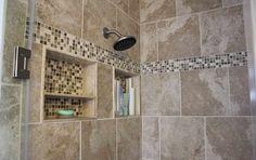 shower tile designs ideas with bottle shampoo