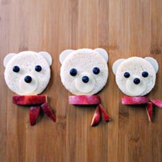 This Polar Bear Snack is the perfect food art activity for those frosty days with your antsy kids. Preschool Cooking, Cooking With Kids, Preschool Ideas, Classroom Snacks, School Snacks, Teddy Bear Day, Polar Bear, Disney Junior, Bear Party