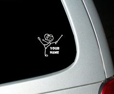 Custom Name Baton Twirling Girl Window Decal AH I WANT THIS they never have twirling products!!!!