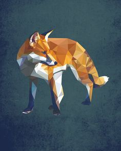 Fox, Geometric, Poly, Polygon, Poster, Art, Illustration, Hiking, Forest, Kid Nursery, Mammal, Shapes, Blue, Home Decor [NO 009] by IronBrothers17 on Etsy