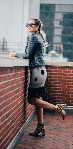 #street #fashion / polka dot + leather