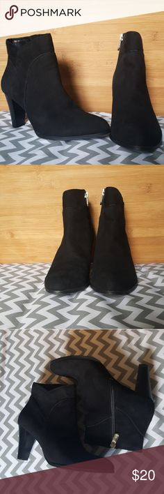 Black Suede Ankle Boots - Size 6.5 These black suede boots are just stunning! 😍 They are in amazing condition. They have about a 2.5 inch heel, amazing tread with no scuffs on the suede zipper is on the inside of the ankle. Feel free to ask me any questions about the shoes. Adrienne Vittadini Shoes Ankle Boots & Booties