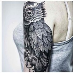Owl half sleeve tattoo shoulder | Tattoo Ideas