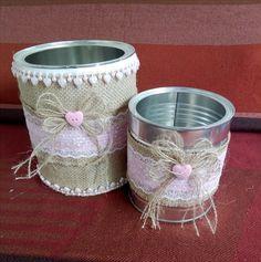 Botes de leche decorados Tin Can Art, Tin Art, Mason Jar Crafts, Mason Jar Diy, Tin Can Crafts, Diy And Crafts, Rustic Mason Jars, Shabby Chic Crafts, Mason Jar Centerpieces