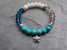 Beach Stretch Bracelet Turquoise Czech Beads by NickiLynnJewelry, $28.00