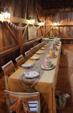 vintage wedding, barn wedding, head table, mason jars