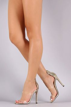 Triple Lucite Straps Open Toe Stiletto Heel