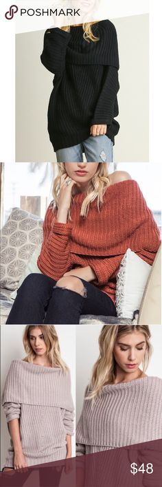 SYDNEY knit off shoulder sweater top - BLACK Chunky knit off shoulder sweater top.   ALSO AVAILABLE IN RUST, MUAVE & BLACK  !!!NO TRADE, PRICE FIRM!!! Bellanblue Tops