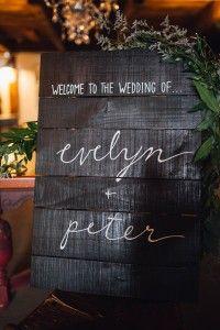 A rustic wood sign w