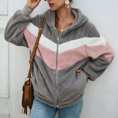 Look chic in chevron when you slip on this cozy sherpa hoodie designed with a convenient zip-up front. Hoodie Outfit, Hoodie Jacket, Gray Jacket, Hooded Sweater, Sweater Coats, Coats For Women, Jackets For Women, Color Blocking Outfits, Sweatpants Outfit