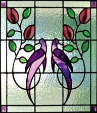 Purple Love Birds Stained Glass