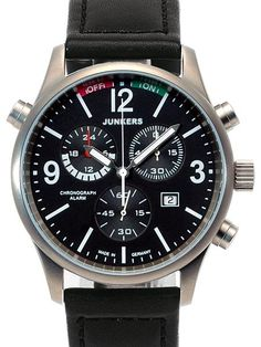 Junkers 6296-2 Watch is a great looking chronograph watch with a four jewel Swiss ETA G10.791 quartz movement, alarm function, date, luminescent hands, numbers and markers and a mineral crystal. Titanium case.