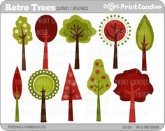 Retro Trees  Digital Clip Art  Personal and by printcandee on Etsy