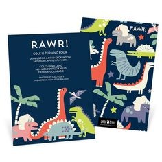 Personalize these Dinosaur Rawr Kids Birthday Invitations with your choice of text and colors. Shop Pear Tree now for dinosaur birthday invitations.