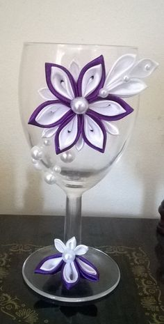 Wine glass with kanzashi flower. by TheBeautyOfRibbon on Etsy