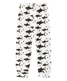 White & Black Shark Hipster Pants - Infant