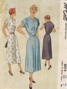 """50s VINTAGE 1 PC DRESS SEWING PATTERN MCCALL'S 8074 SIZE 18 BUST 36 HIP 39"""" UNCUT 