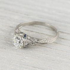1.03 Carat Vintage Sapphire & Diamond by ErstwhileJewelry on Etsy, $12000.00. Wayyyyy too expensive. But gorgeous nonetheless