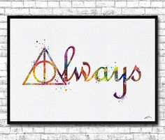 Harry Potter Deathly Hallows Always Watercolor print by ArtsPrint