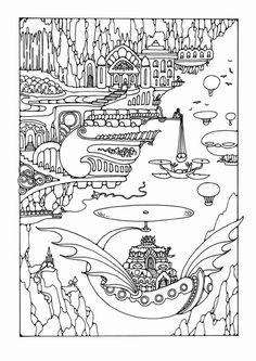 Kleurplaat sprookjesstad met voertuigen