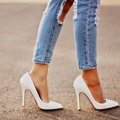 Louboutin White Spiked Pointed Toe Heels