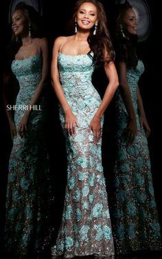 2014 Sherri Hill 11125 Aqua Criss Cross Back Prom DressesOutlet
