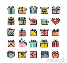 25 color bow gift box icon vector
