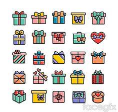 25 color bow gift box icon vector