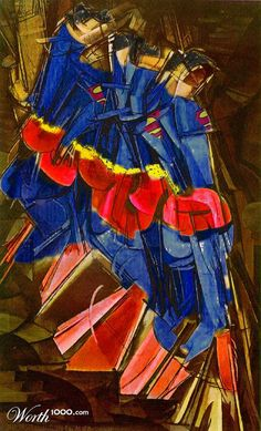 """Superman Descending Staircase by rjwh67220 based on Marcel Duchamp's """"Nude Descending a Staircase"""""""