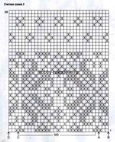 Жаккардовым узор В: число петель кратно 24 +1 (7)+ 2 кром. Вязать, как жаккардовый узор А. но по счетной схеме 2