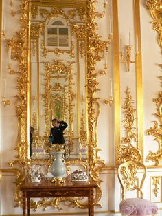 Baroque Mirror at the Peterhof Palace, Russia