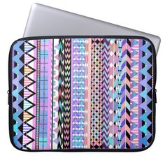 Girly Colorful Aztec Pattern Laptop Sleeves #laptop #laptopsleeve #sleeve #electronicsleeve #laptopcover #aztec #girly #tribal #colorful #geometric #pattern #andes