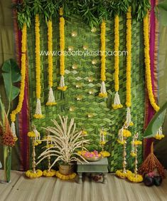 Marigold Magic on Palmleaf backdrop for a Pellikoduku decor. Pellikoduku Decor by Lavanya of is a unit of 𝒎𝒆𝒔𝒔𝒂𝒈𝒆 𝒊𝒔 𝒄𝒍𝒆𝒂𝒓! 𝑳𝒆𝒕 𝒏𝒐𝒕 𝒚𝒐𝒖𝒓 𝒄𝒆𝒍𝒆𝒃𝒓𝒂𝒕𝒊𝒐𝒏𝒔 𝒂𝒅𝒅 𝒕𝒐 𝒘𝒐𝒓𝒍𝒅 𝒑𝒍𝒂𝒔𝒕𝒊𝒄 𝒄𝒓𝒊𝒔𝒊𝒔 # Wedding Backdrop Design, Desi Wedding Decor, Wedding Hall Decorations, Diy Diwali Decorations, Backdrop Decorations, Engagement Decorations, Flower Decorations, Wedding Themes, Naming Ceremony Decoration