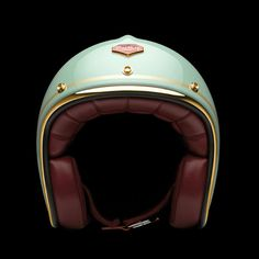 Ruby Pavillion Motorcycle Helmets. The French company is pairing the carbon fiber helmets with a stunning selection of soft Nappa Lamb leather, with a finishing trim of chrome, brass, or gunmetal.