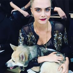 Cara Delevingne's special guest for Chanel's couture show? Her new puppy, Leo.