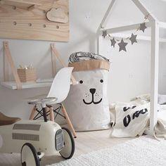 Monochromatic kids room – I spy a Parade and Company dreamland cloud sign top left! www.paradeandcompany.com