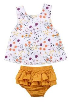 Touch Of Yellow Baby Girl Summer Set - March 16 2019 at Toddler Girl Style, Toddler Fashion, Toddler Outfits, Kids Outfits, Kids Fashion, Fashion Clothes, Fashion Wear, Toddler Girls, Baby Yellow