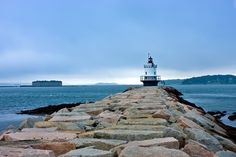 Spring Point Ledge Light in South Portland, Maine Photo/Art by Donald Gargano