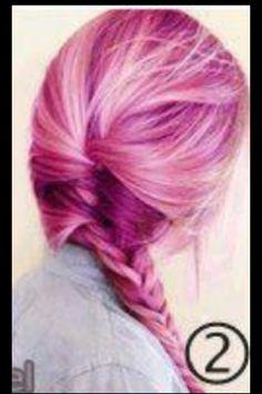 Bright pink hair, & side fishtail braid.  Loveeee.