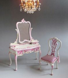 Other Dollhouse Miniatures Mattel Dollhouse Pink Kitchen Folding Dining Table 4 White Chairs Heart Backs