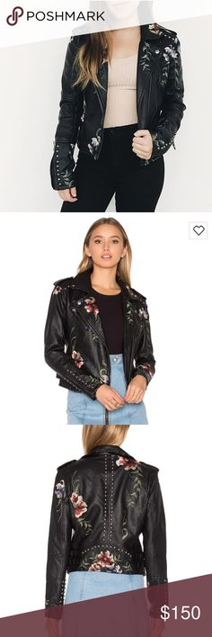 BLANK NYC Embroidered Faux Leather Moto Jacket A Team Posh favorite around the office. This is one gorgeous jacket and so on-trend. Would love to keep but doesn't fit me quite right in the shoulders. Excellent condition, worn twice. Blank NYC Jackets & Coats