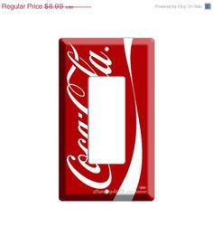 ON SALE NOW new red Coca-Cola classic single Gfi outlet light switch cover plate dining kitchen bedroom room decor decoration