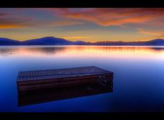 Diamond Lake - sunset dock afloat a quiet sunset. Washington Lakes, Diamond Lake, Sunrise Colors, Evergreen State, Amazing Pics, Oh The Places You'll Go, Rafting, Beautiful World, Wonders Of The World