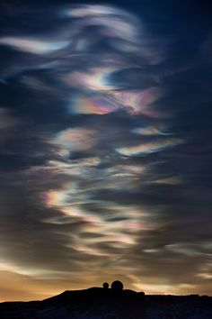 Nacreous Clouds - Ross Island, Antarctica.    Nacre = Mother of Pearl.