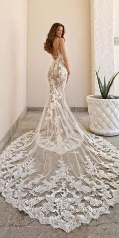 30 Lace Bridal Gowns Of Your Dream ? lace bridal gowns fit and flare v back with train lace enzoani ? : 30 Lace Bridal Gowns Of Your Dream ? lace bridal gowns fit and flare v back with train lace enzoani ? Top Wedding Dresses, Bridal Dresses, Wedding Gowns, Wedding Bride, Dresses For Engagement, Ceremony Dresses, Wedding Ceremony, Lace Wedding, Long Sleeve Wedding