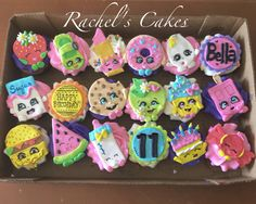 Custom cakes + wide variety of carryout baked goods. Bolo Shopkins, Shopkins Bday, Cupcake Cookies, Sugar Cookies, Shopkin Cupcakes, Little Pony Cake, Ideas Hogar, Themed Cupcakes, Custom Cakes
