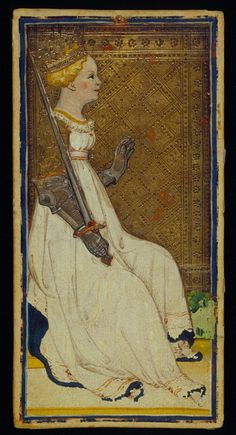 The Queen of Swords, Bonifacio Bembo or family Visconti-Sforza, Tarot Cards, Italy, Milan, ca. 1450
