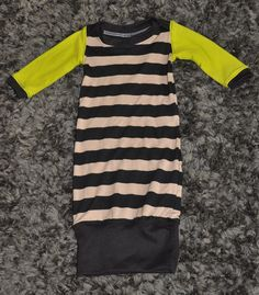 Black and Brown Striped 0-3 Month Baby Boy Gown on Etsy, $32.00