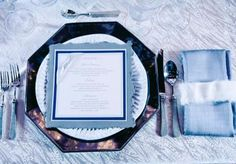 Pretty blue place setting by @Tami Winn Events, linens by BBJ and menu card by Paper Planet. Photo by Hiram Trillo Photography #wedding #blue #place #setting #menu #card #linen
